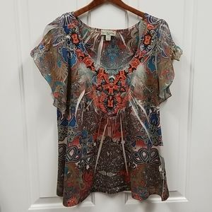 Live and Let Live boho top sz PS